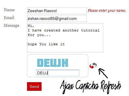 Ajax Stylish Captcha and Contact Form using JQuery and PHP. | 99Points