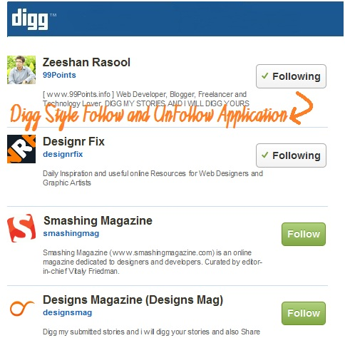 New Digg Style Follow Unfollow Application Using jQuery and