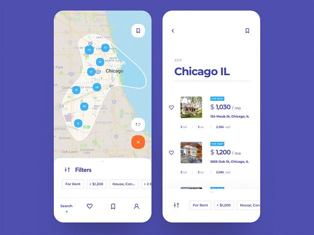 Real Estate Search mobile App design