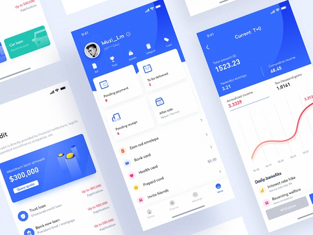 Wallet app interface design