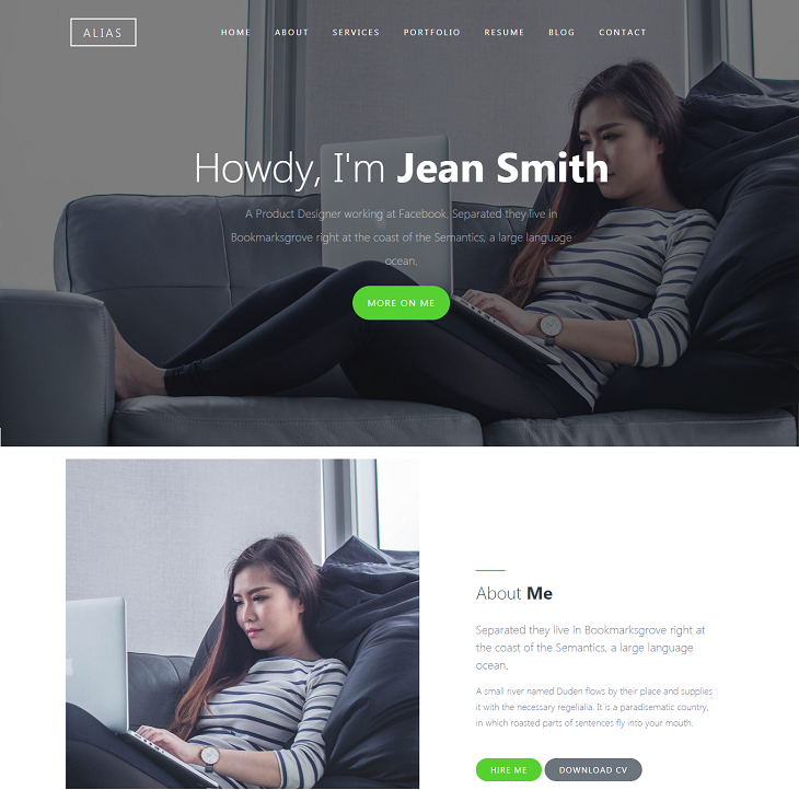 Alias Resume website template, website design resumes