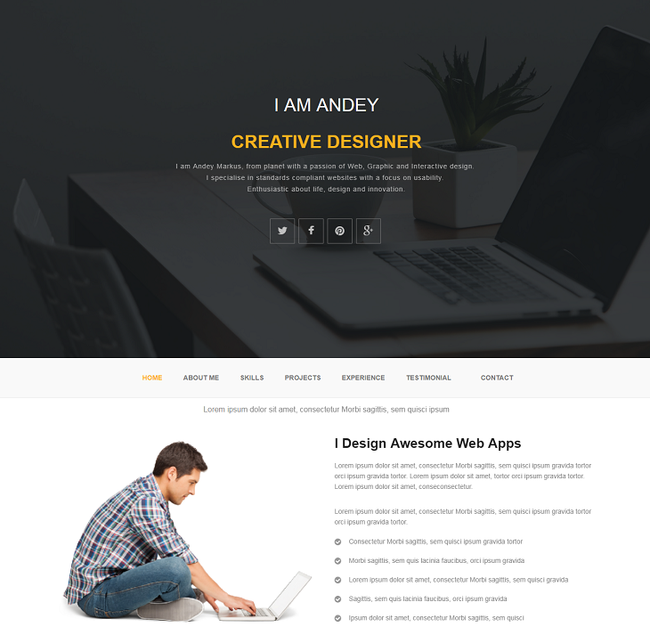 Andey Resume website template, resume webpage