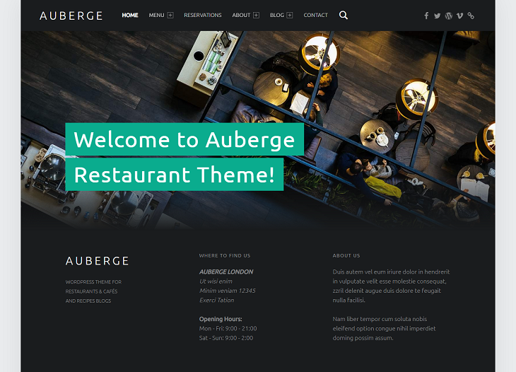 Auberge WordPress Themes, best free responsive wordpress themes