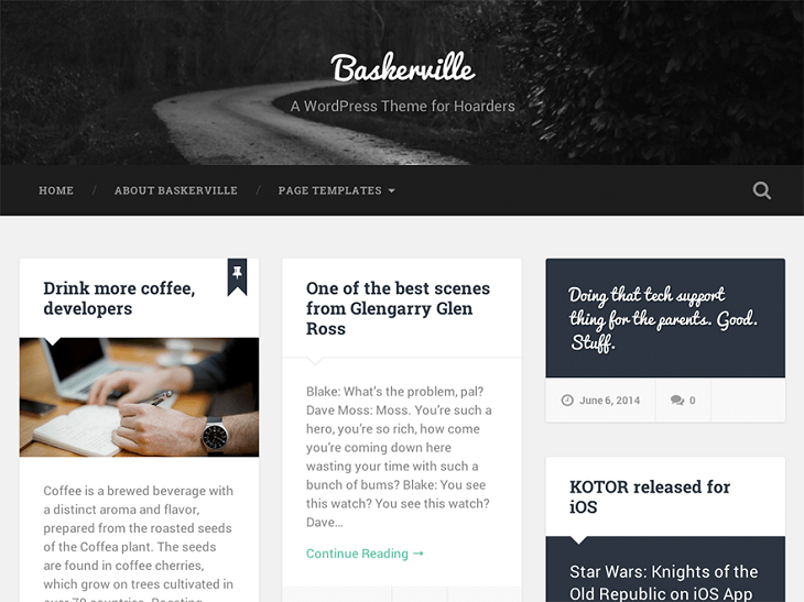 Baskerville WordPress Themes, free wordpress responsive themes