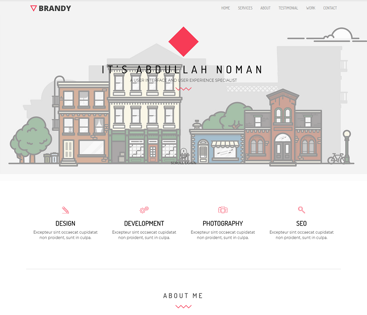 Brandy Portfolio Resume website template, sample resume website