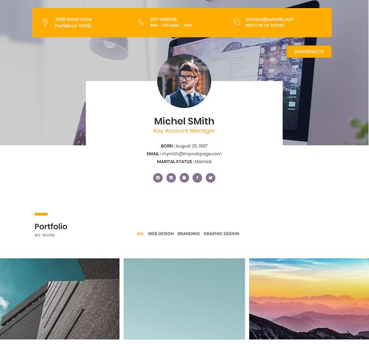 CVPortfolio Resume website template, resume website