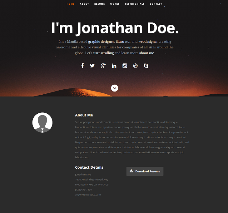 Ceevee Resume website template, web resume template free