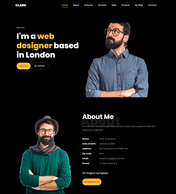 Clark Resume website template, website resume template