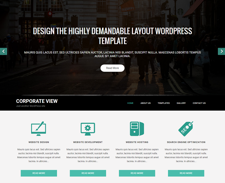 Corporate View WordPress Themes, free wordpress website templates