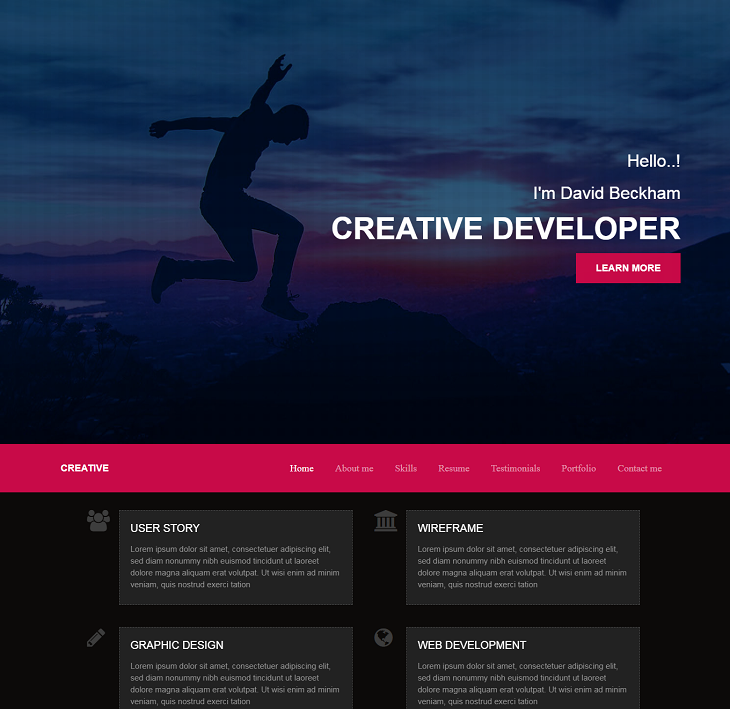 Creative Dev Resume website template, online resume website