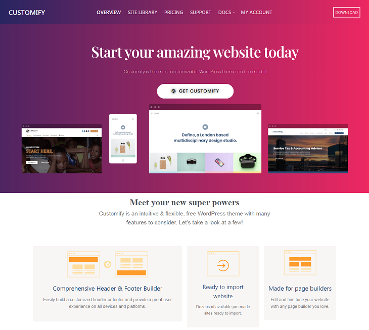 Customify WordPress Themes, free responsive wordpress themes