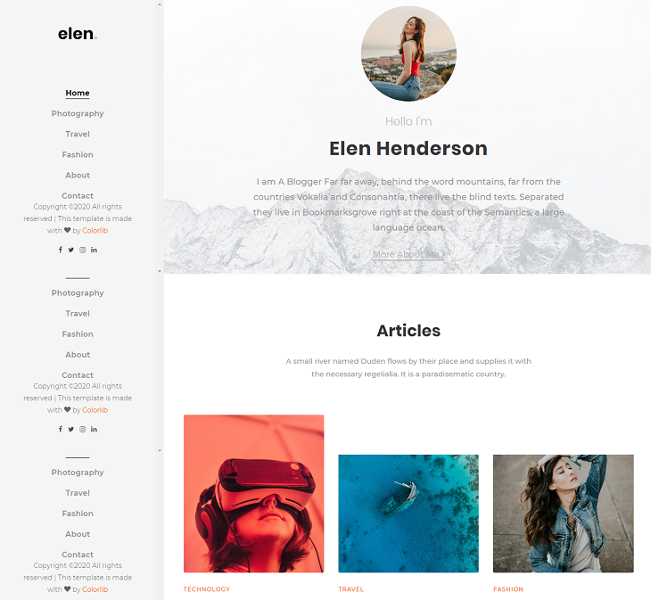 Elen Resume website template, simple resume website
