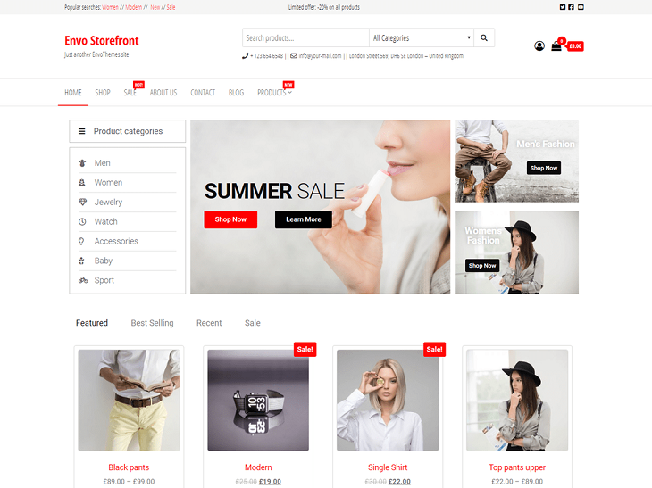 Envo Storefront WordPress Themes, bootstrap wordpress theme free