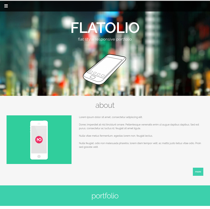 Flatolio Portfolio Resume website template, web designer resume