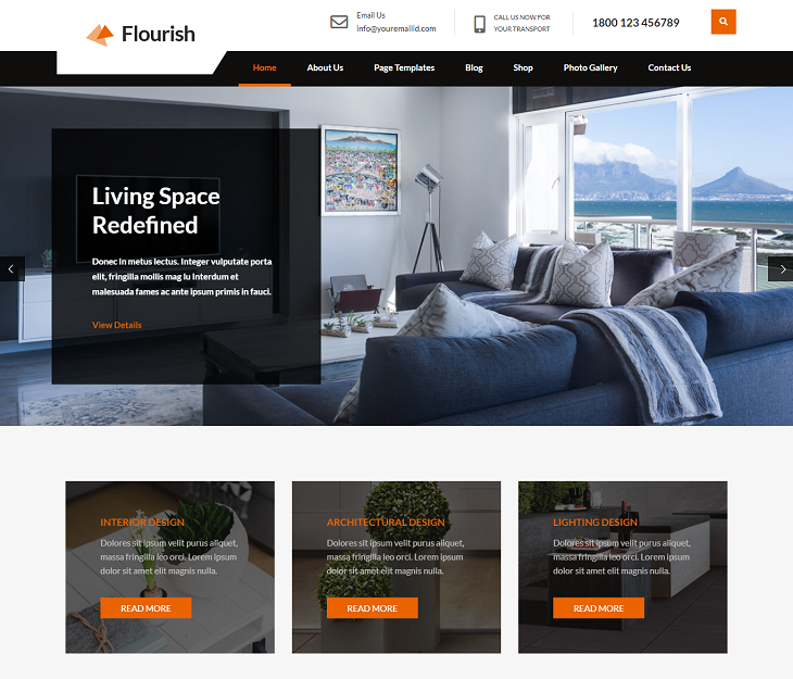 Flourish Lite WordPress Themes, best wordpress themes free