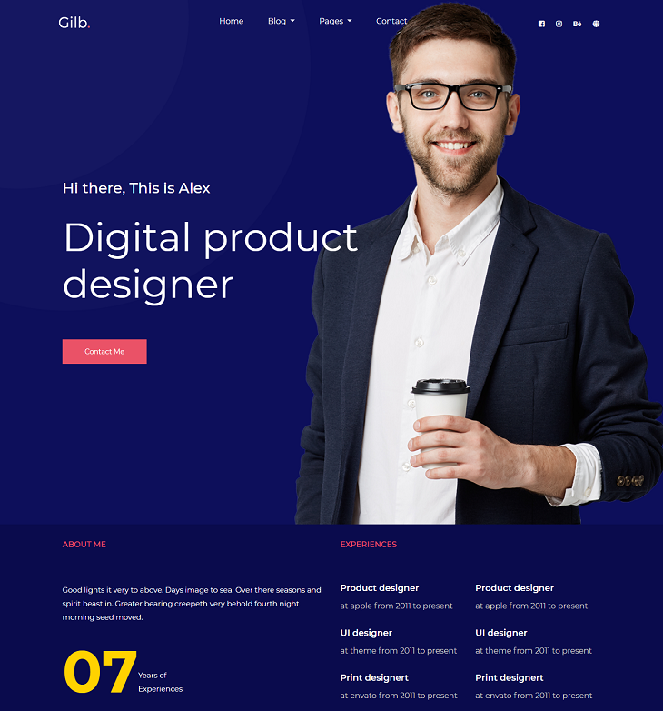 Gilb Resume website template, resume website templates