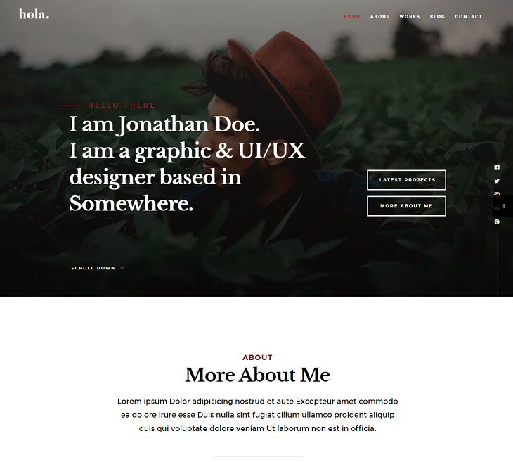 Hola Resume website template, resume web page template