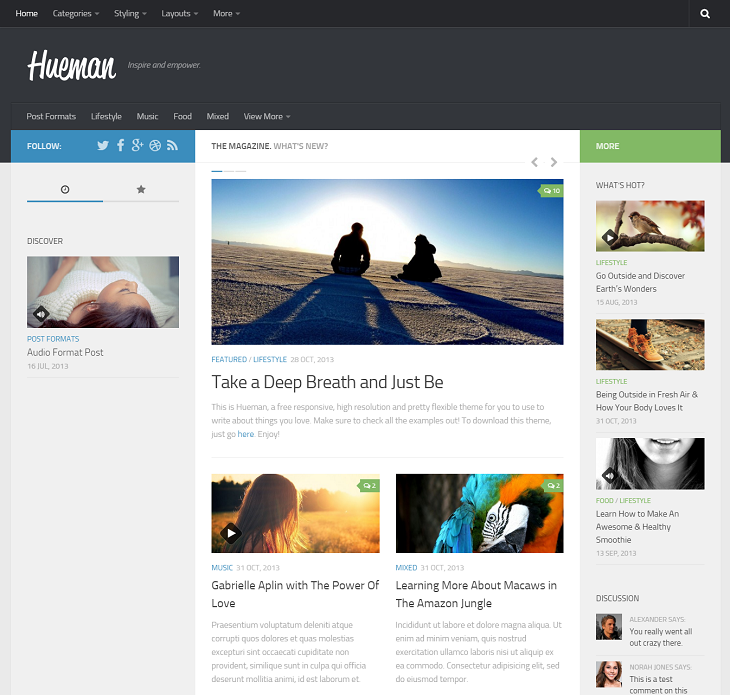 Hueman Resume website template, website for resume