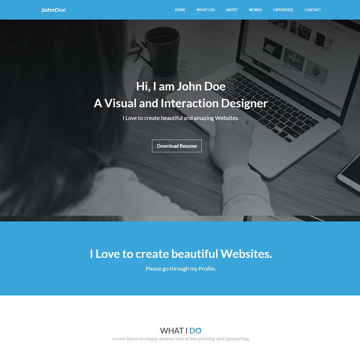 Johndoe Resume website template, resume portfolio website