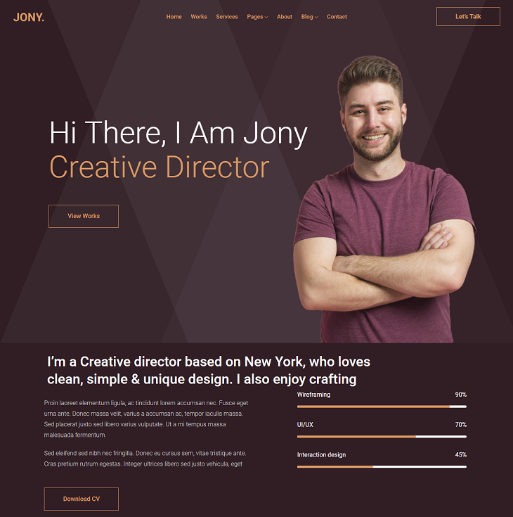 Jony Resume website template, resume website template