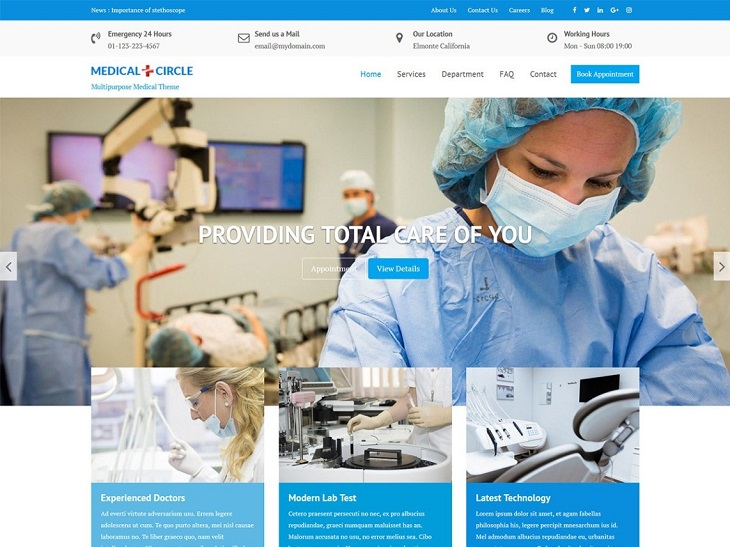 Medical Circle WordPress Themes, free elegant wordpress themes