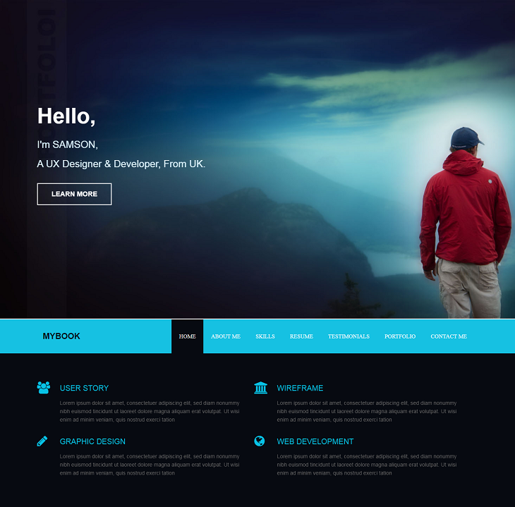 MyBook Resume website template, one page resume website