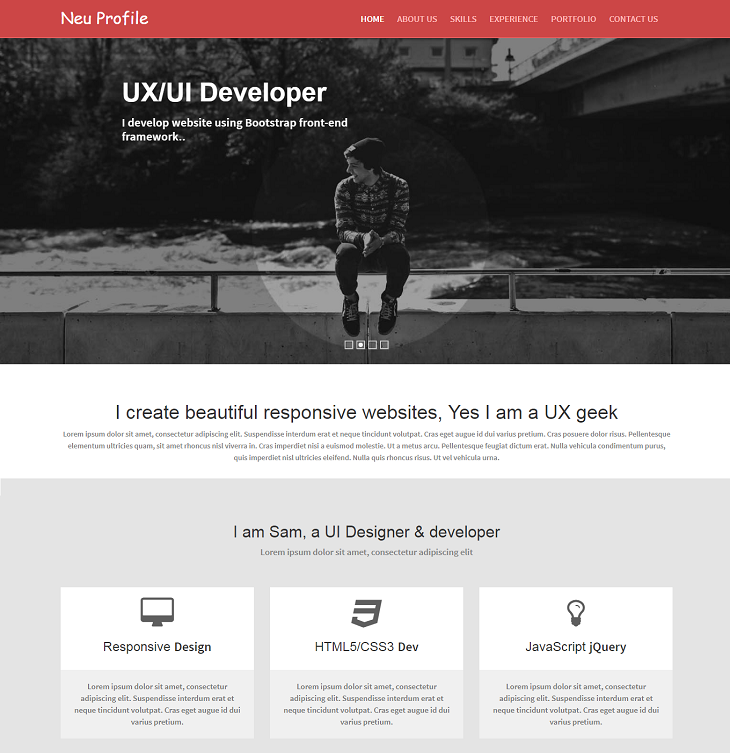 Neu Resume Resume website template, personal resume website templates