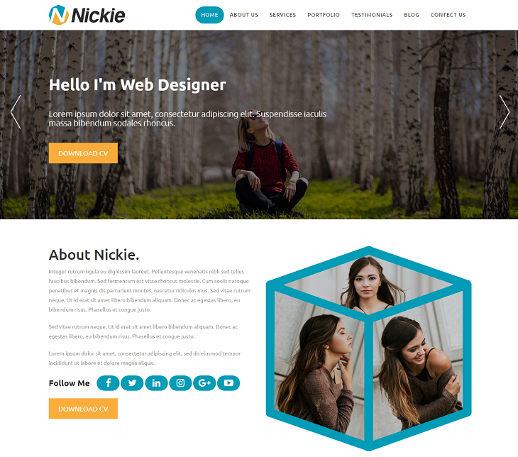 Nickie Resume website template, digital resume websites