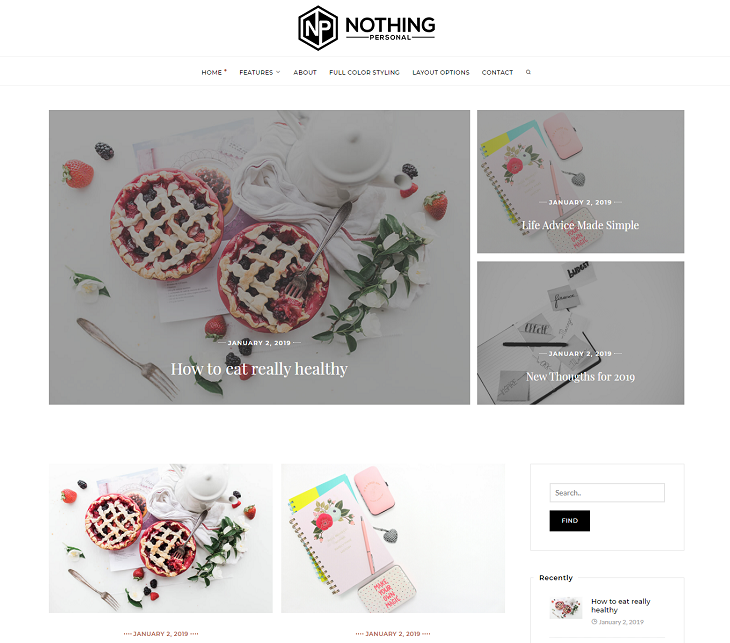 Nothing Personal Blog WordPress Themes, wordpress free theme responsive