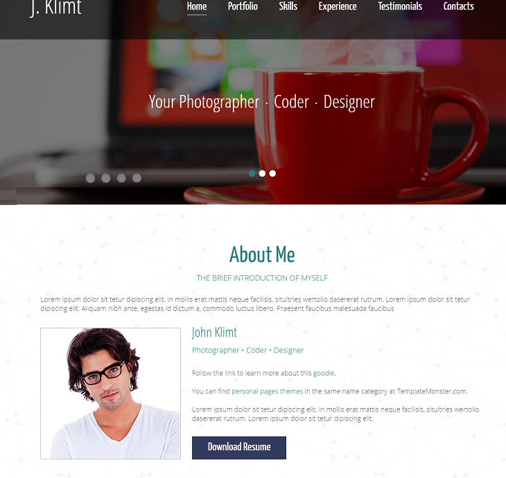 One Page CV Resume website template, resume web pages