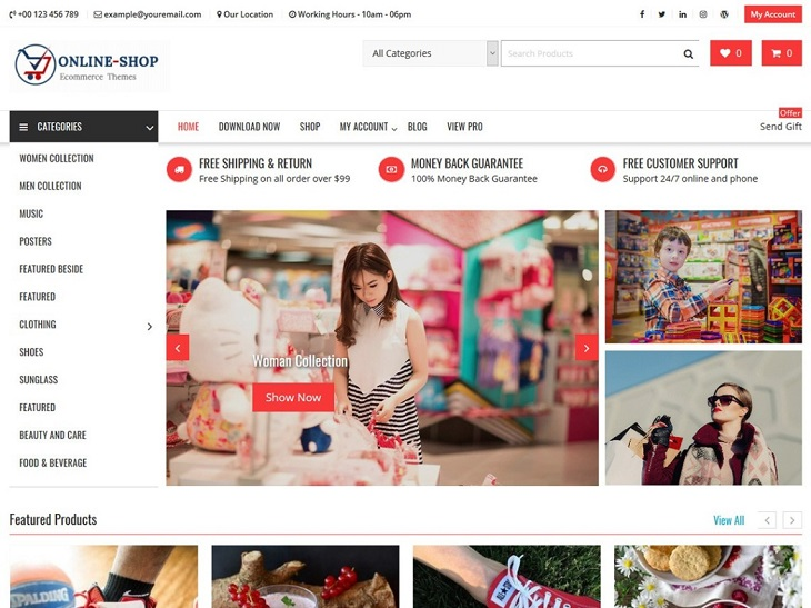 Online Shop WordPress Themes, free fully customizable wordpress themes
