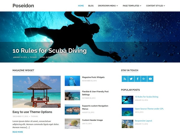 Poseidon WordPress Themes, wordpress mobile theme free