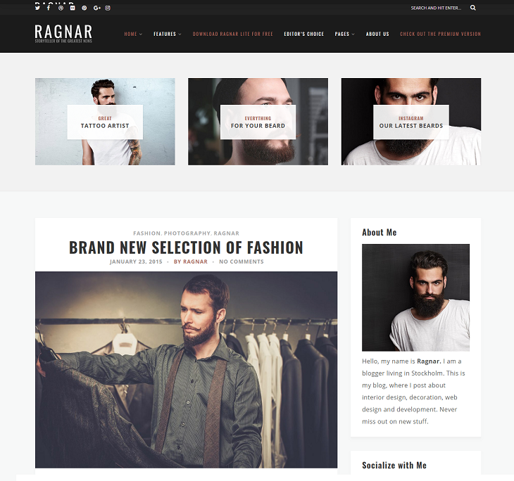 Ragnar Lite WordPress Themes, free mobile friendly wordpress themes
