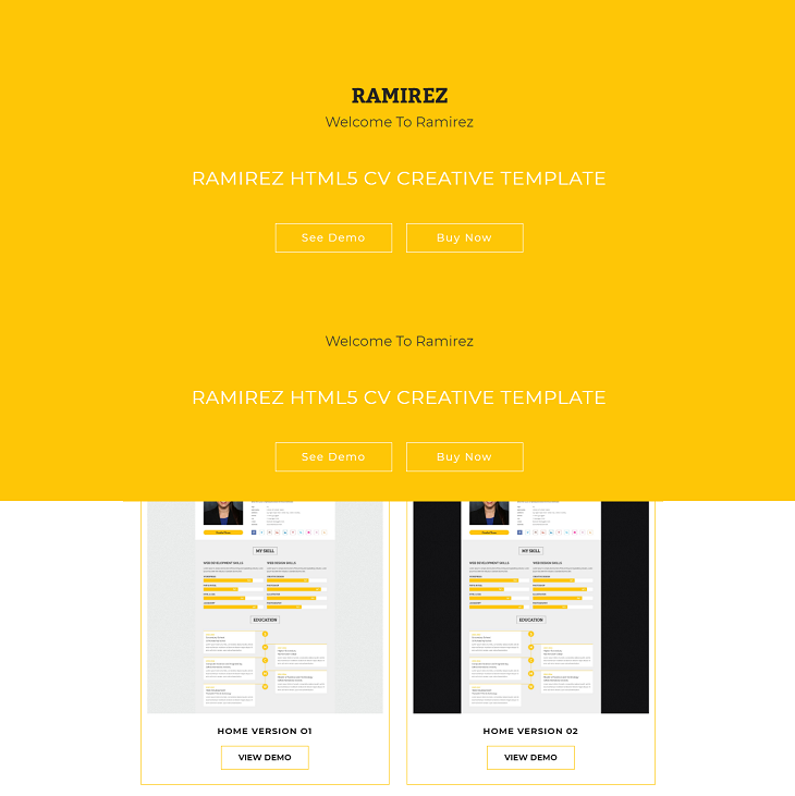 Ramirez Resume website template, professional resume website