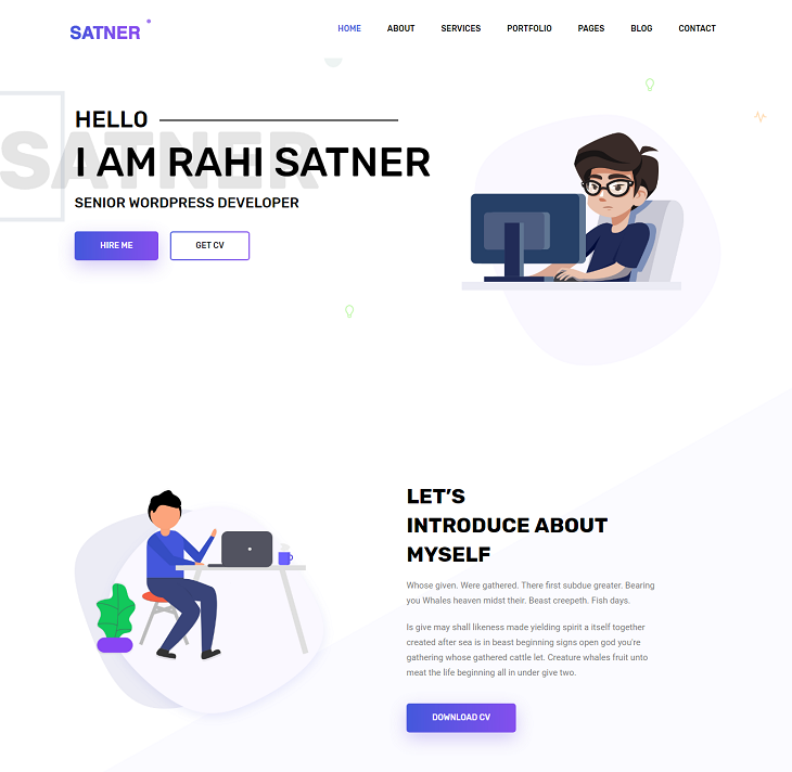 Satner Resume website template, resume web templates