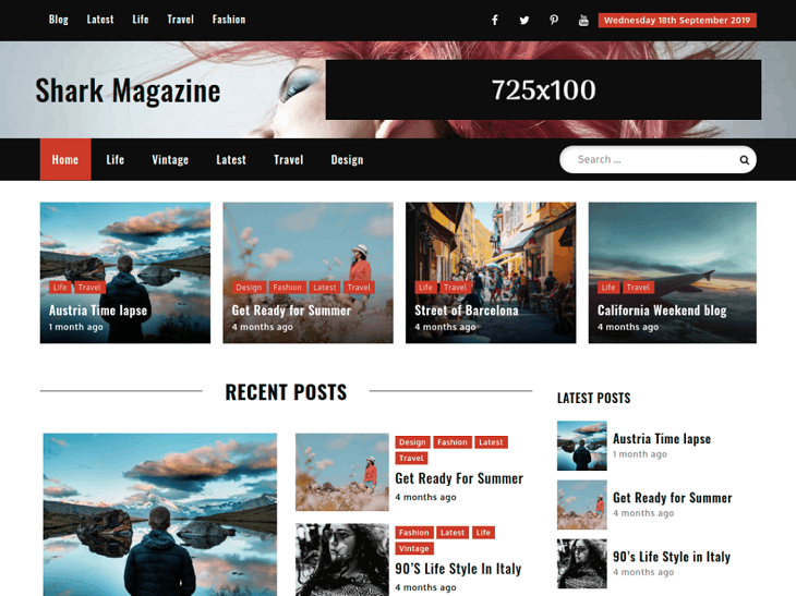 Shark Magazine WordPress Themes, best free wordpress blog themes