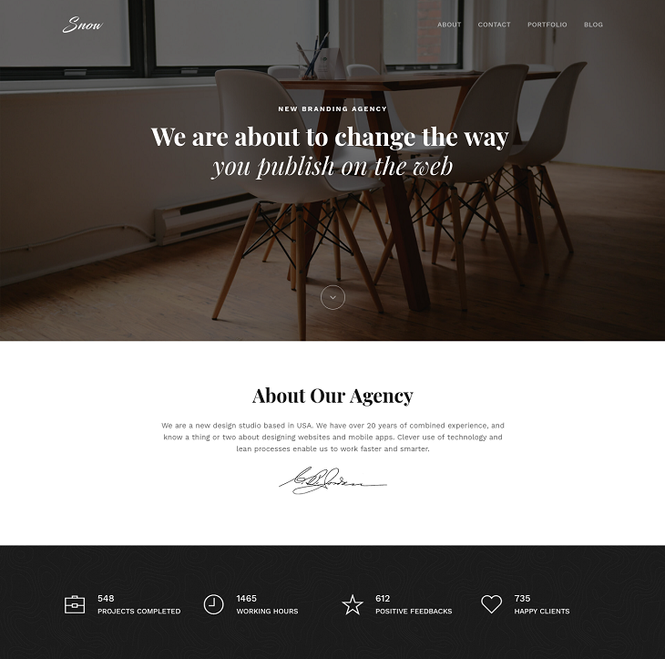 Snow Resume website template, cv website template free