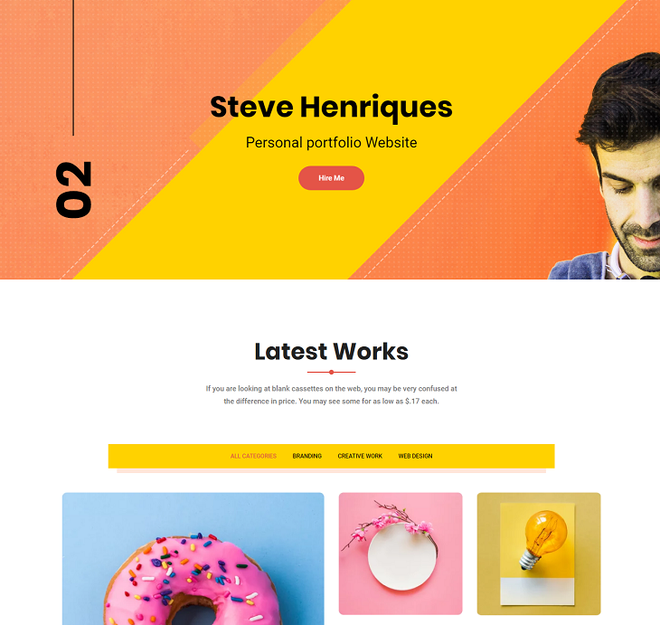 Steve Resume website template, free resume website template