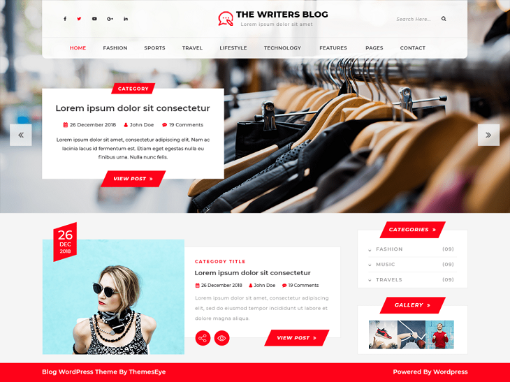 The Writers Blog WordPress Themes,  free custom wordpress themes
