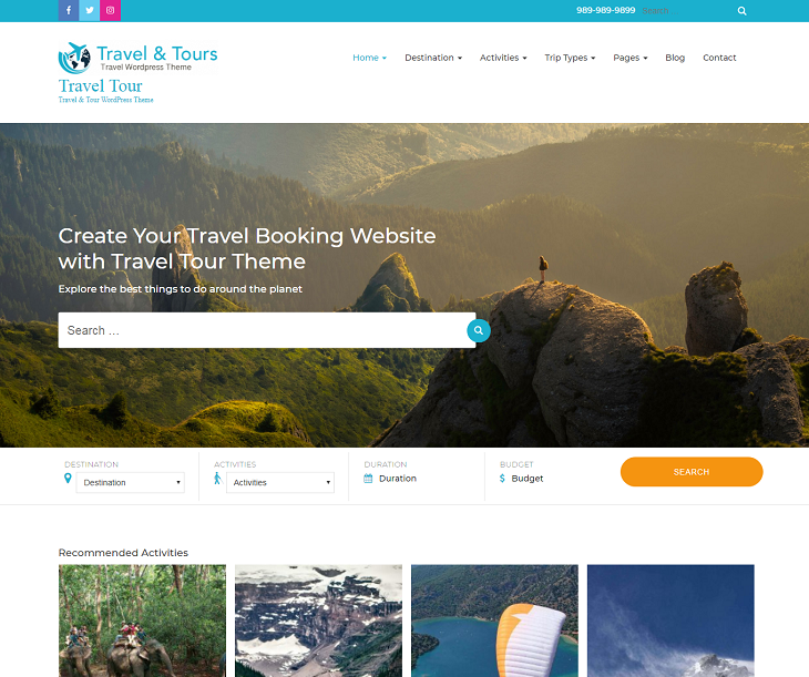 Travel Tour WordPress Themes, mobile friendly wordpress themes free