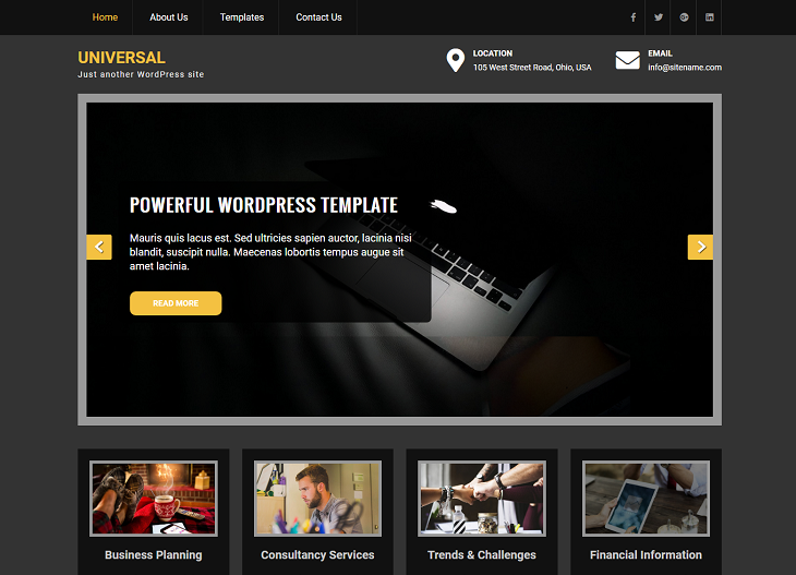 Universal Lite WordPress Themes, free wordpress themes blog