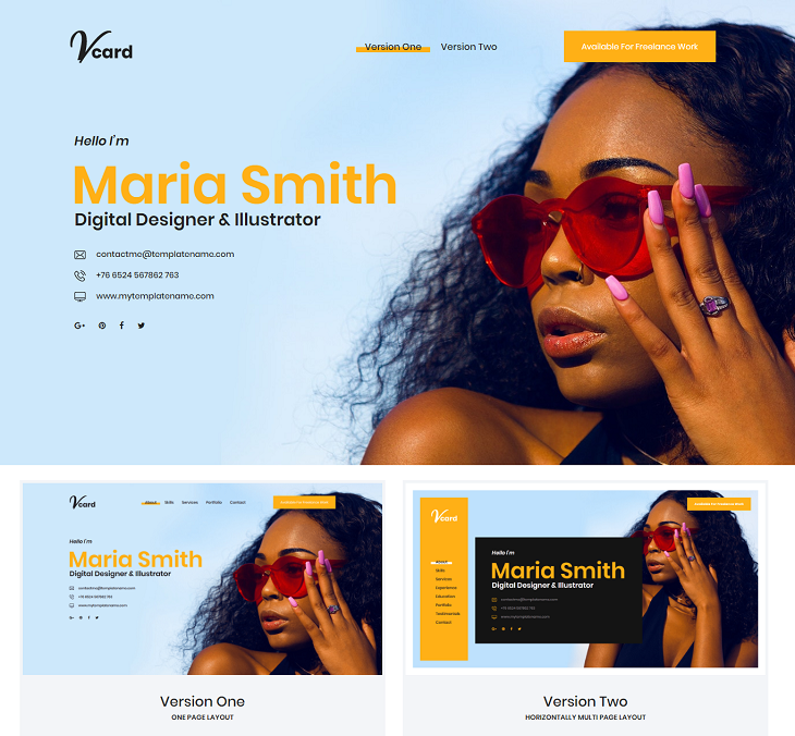 Vcard Resume website template, cv website template